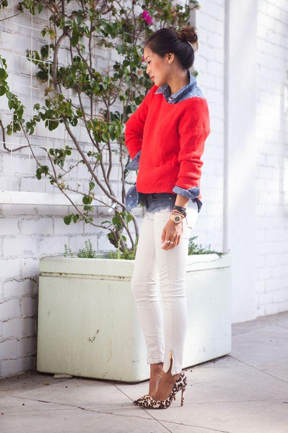 Rachel Rachel Roy Sweater, Gap Polka Dot Chambray Shirt, Zara Ombre Skinny Jeans, Celine Bracelet  Kenneth Cole Watch, Knot Bracelet, Schutz Studded Leopard Pumps: