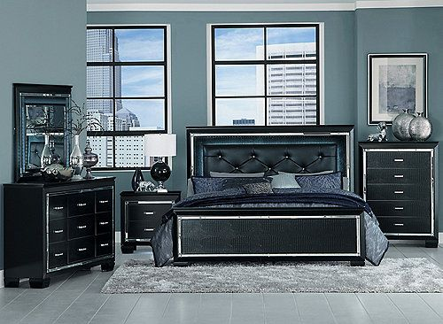 Glamour Reigns In The Design Of The Brambley Queen Bed Each Piece Is Framing A Decorative Beveled Mirr Black Bedroom Sets Bedroom Sets Queen Wood Bedroom Sets
