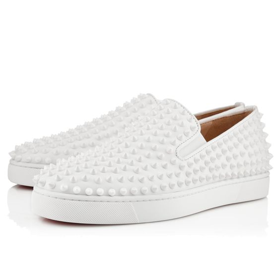 replica louboutins for sale - Roller-Boat Men's Flat White Leather - Men Shoes - Christian ...
