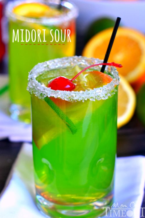 An easy recipe for MIDORI SOUR cocktails! | MomOnTimeout.com: Easy Recipe, Fruity Cocktail, Fruity Alcoholic Drink, Easy Mixed Drink