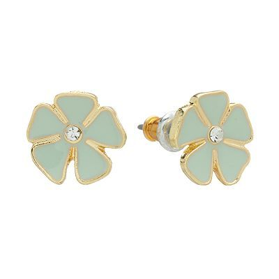 LC Lauren Conrad Gold Tone Simulated Crystal Flower Stud Earrings...my favorite earrings right now! They give a little minty pop to all my outfits.