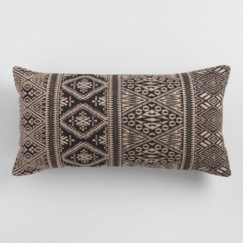 Oversized Black Jacquard Indoor Outdoor Lumbar Pillow World