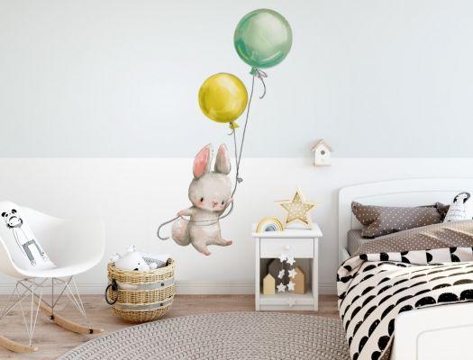 Wandtattoo Aquarelltiere Hasen Mutter mit Baby Kinderzimmer Deko