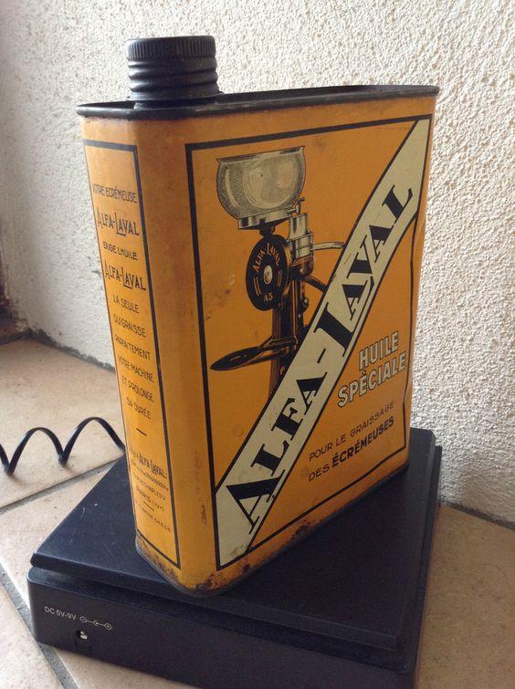 ancien bidon d huile alfa laval huile pour ecremeuses dans l etat old tins etc pinterest. Black Bedroom Furniture Sets. Home Design Ideas