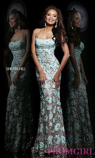 Long Open Back Lace Couture Gown by Sherri Hill at PromGirl.com. Of course I would want one in ivory :)