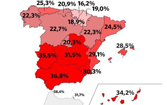 Paro primer trimestres 2013 España.