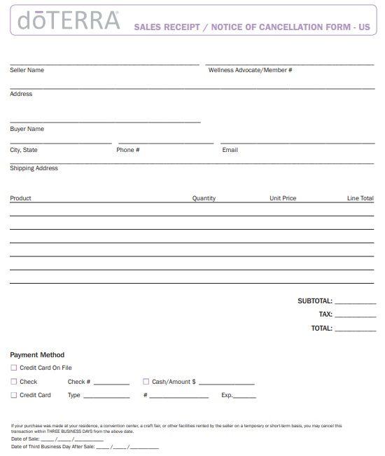 Sales Receipt Notice Of Cancellation Form Receipt Template Free Receipt Template Invoice Template