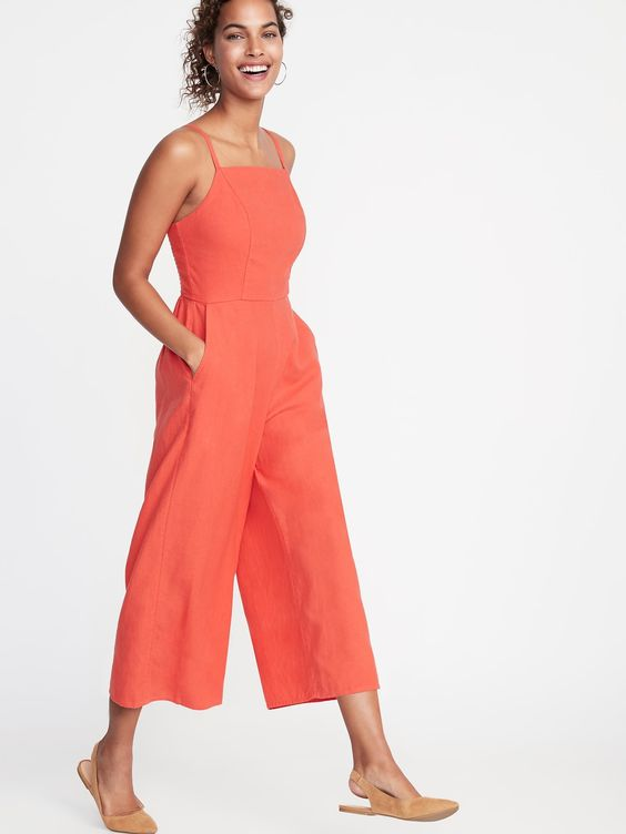 Linen-Cotton Square Neck Jumpsuit