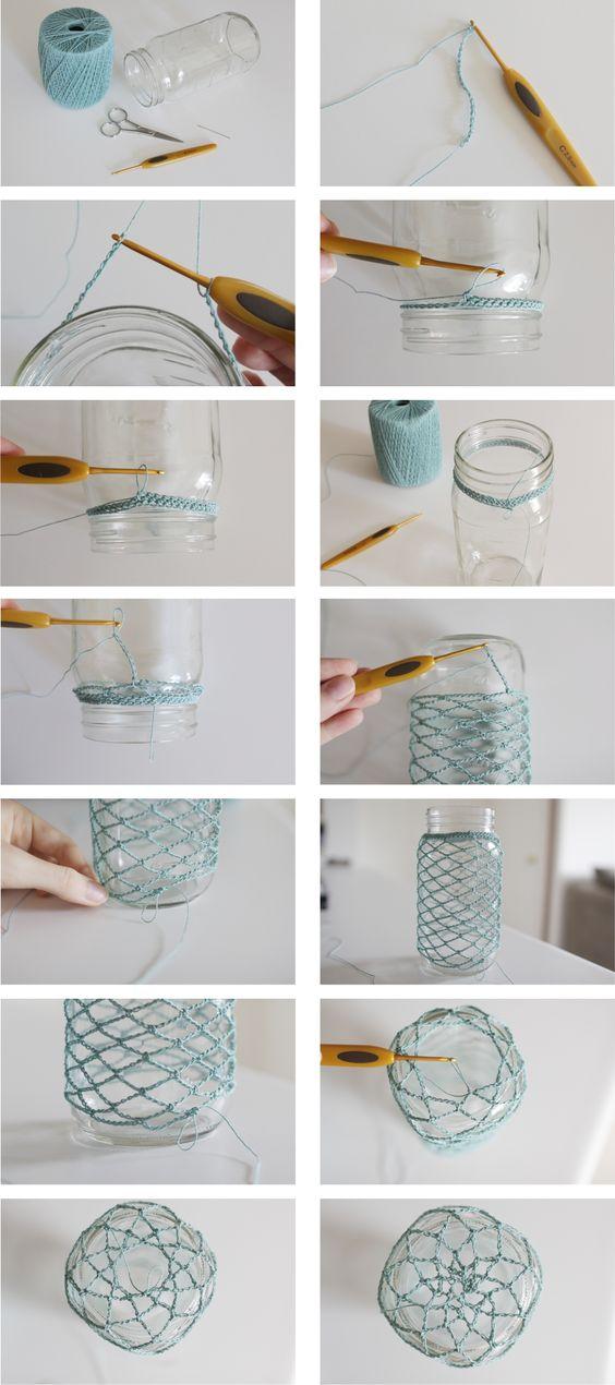How to Crochet: Mason Jar Cozy ❥ 4U // hf