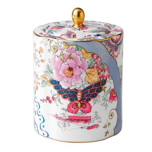 Harlequin Butterfly Bloom Ceramic Tea Caddy / 091574178820 /NIB - $69.95