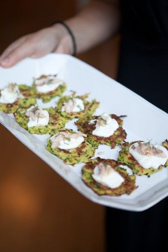 zucchini cakes with smoked trout