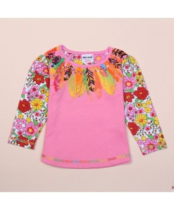 Floral Print Neck Sleeve Tee Sweet Baby Girls Clothes Kids Blouse