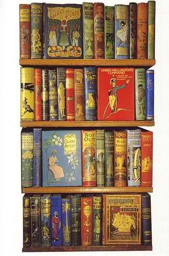 Vintage books ~ image to print in miniature as rows of faux books: