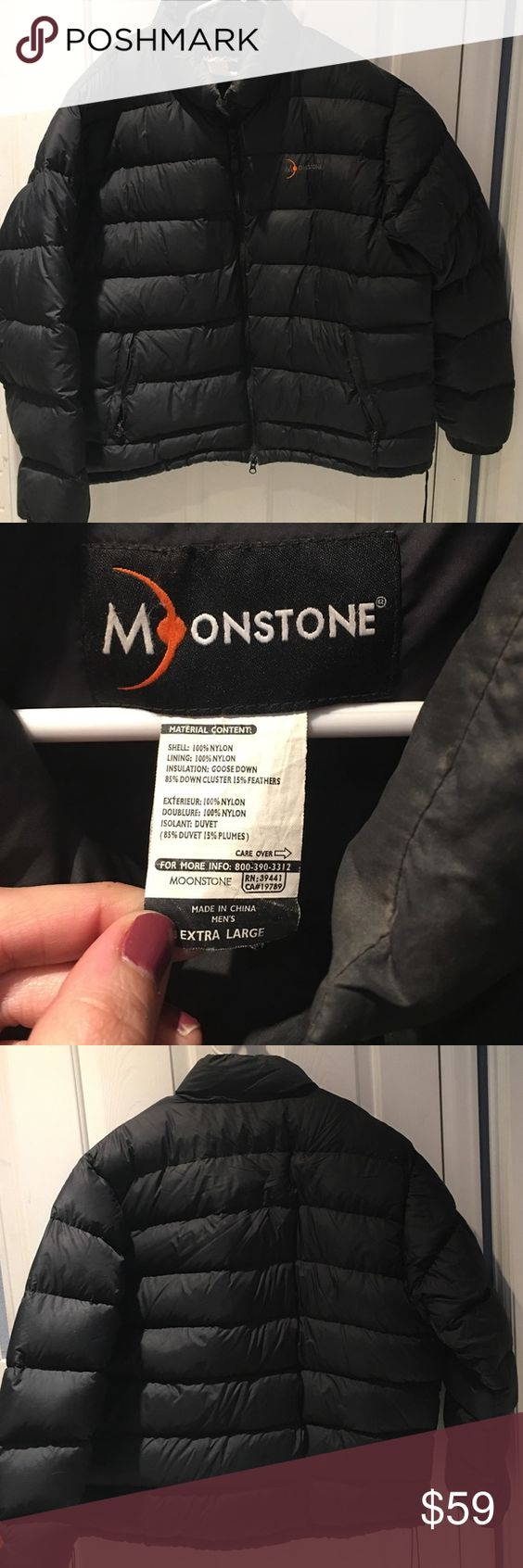 Men's XL moonstone black puffer coat Nice warm black winter puffer coat. Moonstone brand size XL. Smoke free home. moonstone Jackets & Coats Puffers