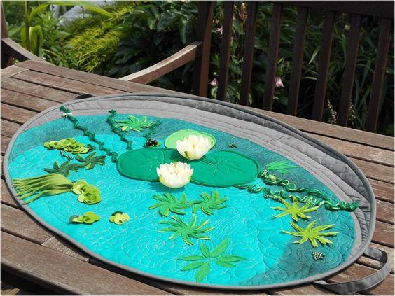 ein sommerlich frischer tischl ufer in teichwannenoptik gequiltet mit dem bsr stichregulator. Black Bedroom Furniture Sets. Home Design Ideas