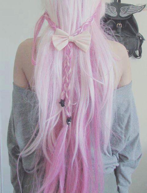 cabello rosa largo