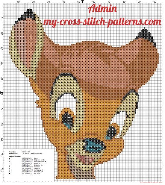 Volto di Disney Bambi 99x113 crocette schema punto croce - schemi punto croce gratis