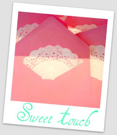 Line the invite envelope w/ a doily for a tea party!