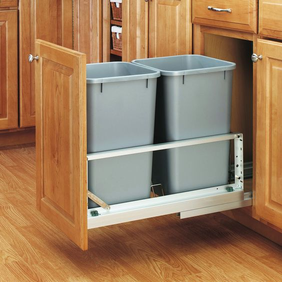 View the Rev-A-Shelf 5349-1527DM-2 5349 Series Double 27 Quart Pull Out Waste Container with Soft-Close Slides at PullsDirect.com.