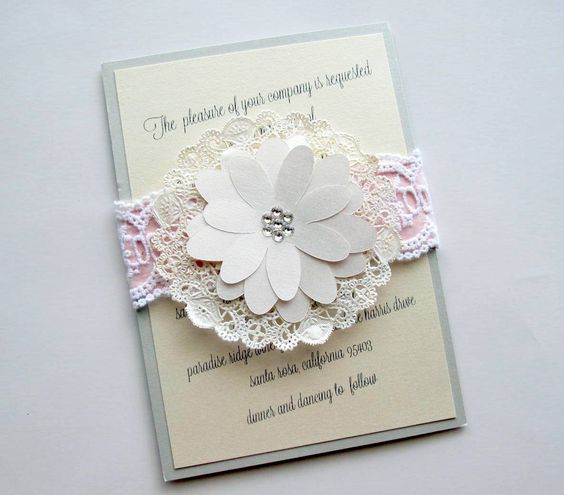Lace Doily Wedding Invitation Country Shabby Chic. $8.50