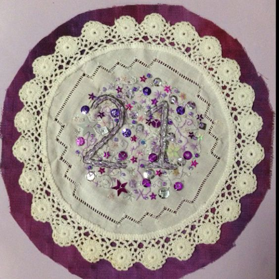 21st embroidered doily card