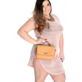 Sexy Peach Plus Size Two Tone Fitted Casual Dress
