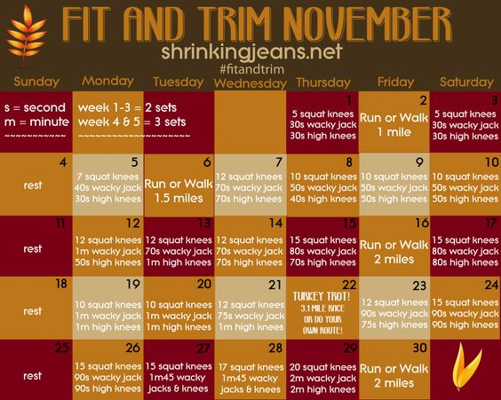 Fit and Trim November {a monthly fitness calendar}....Glad I found this to add to my daily routines!!! 1 for every month.