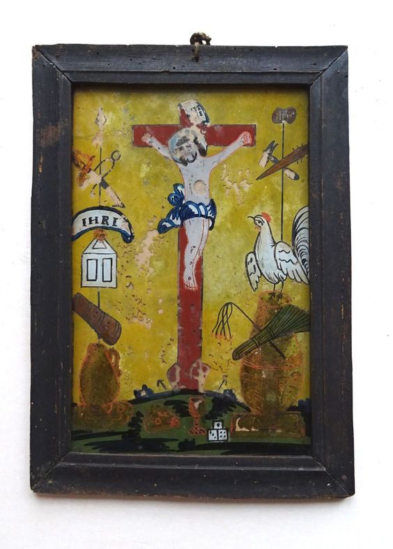 Haussegen Hinterglasbild Sandl Oberösterreich Rahmen Santo Jesus Heilige 19.Jdt.