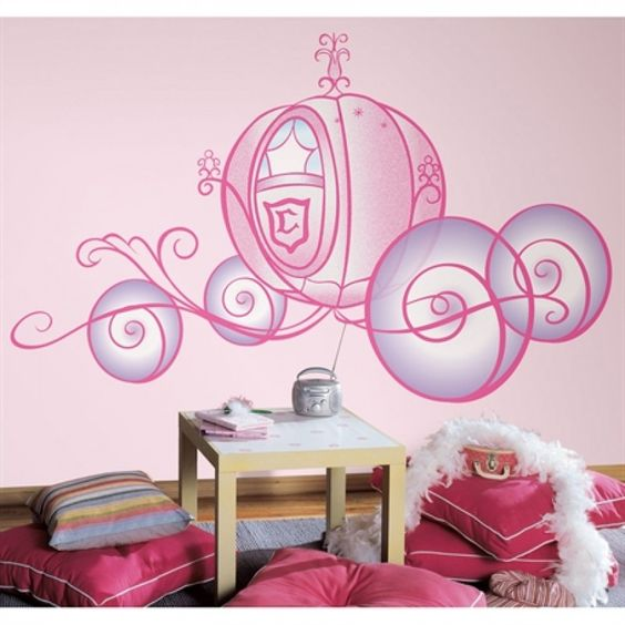 Stickers g ant carrosse de cendrillon http www - Stickers geant chambre fille ...