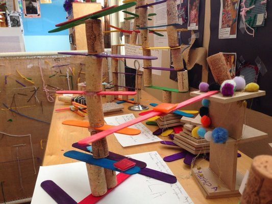 Glue gun, cork, and stick sculptures.   Yelp