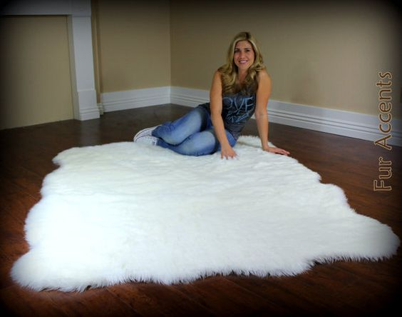 Large 8ft Fleece Accent Rug Faux Fur Fake Sheepskin