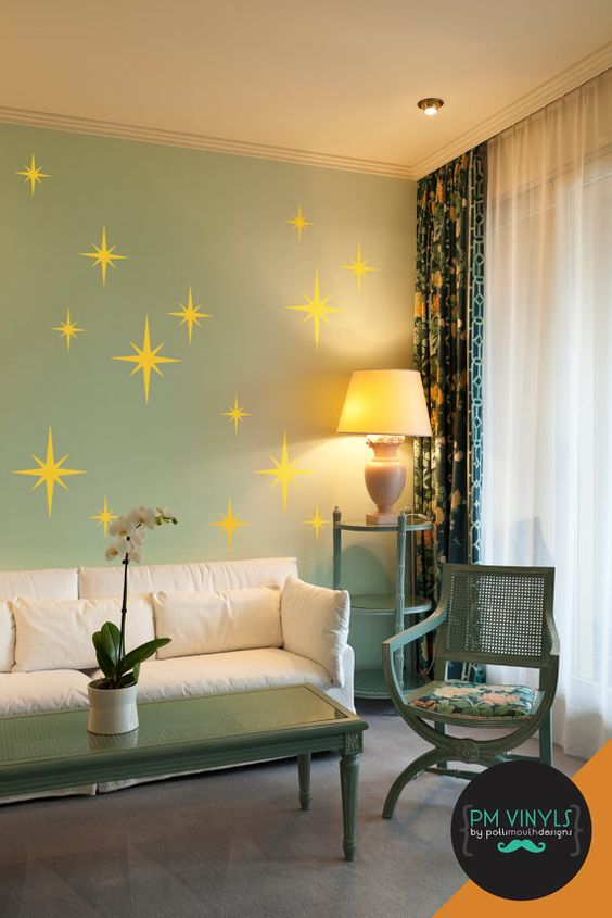 These retro starbursts will transport any room back to the glory of the 50s. Group together or spread out across your wall. Can be used as an accent to