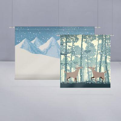 Bache avec forreaux pour créer votre fond de scene avec images de Neige et hiver.