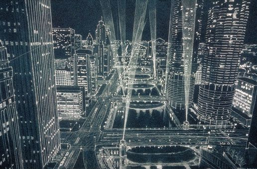 What the Chicago River Bridges could look like at night. © Randal Birkey Illustration