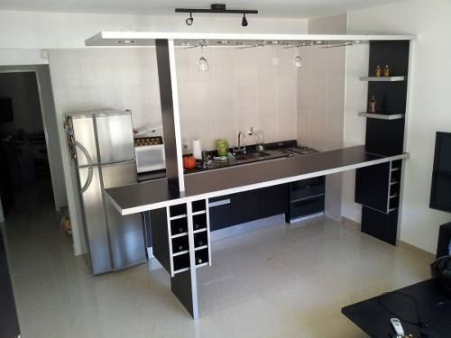 Separador de ambientes desayunador barra bodega copero luz for Mueble barra cocina