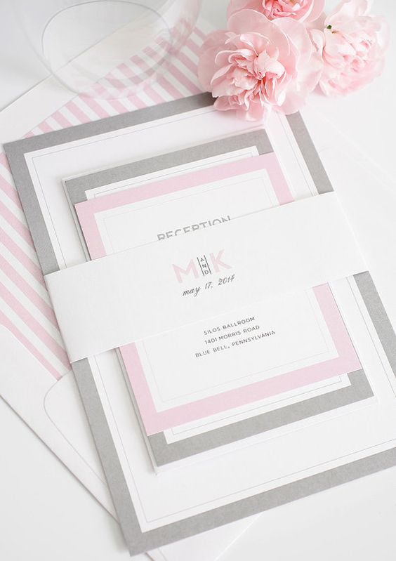 Gray and Pink Wedding Invitation - Unique, Romantic Wedding Invites - Modern Initials Wedding Invitations by Shine Invitations