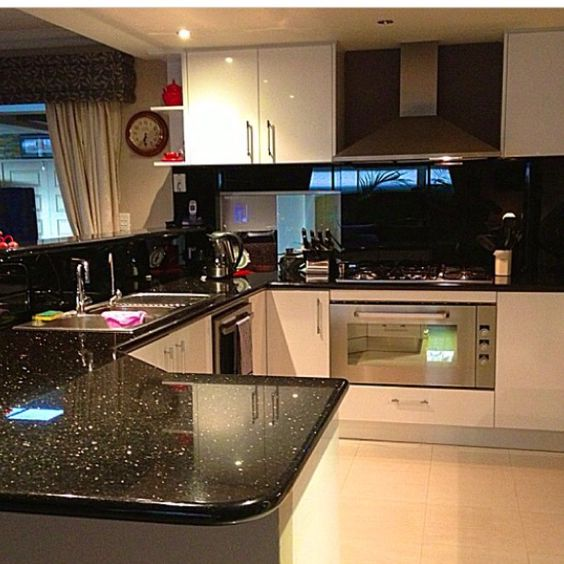 My Kitchen Black Galaxy Granite Sparkly Black Glass Splashbacks Porcelein Tiles Nice
