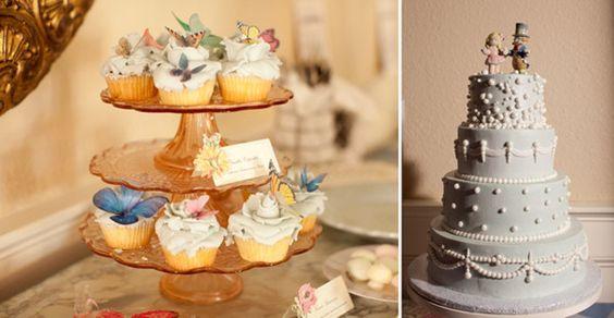 Alice In Wonderland Thema Hochzeitstorten und Cupcakes Inspiration für die 20er Jahre Vintage Hochzeit