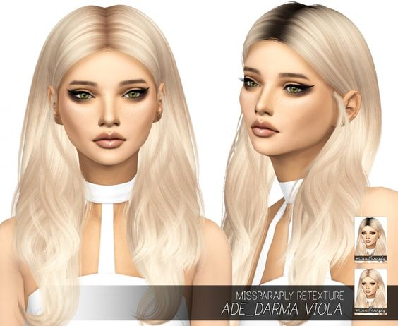 Sims 4 Updates: Miss Paraply - Hairstyles : Ade_Darma Viola: Solids & Dark Roots, Custom Content Download!