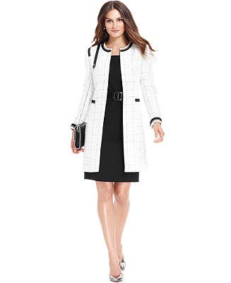 Tahari by ASL Tweed Boucle Long Jacket & Belted Sheath Dress