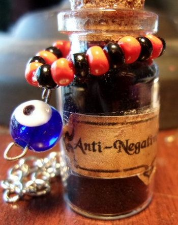 Anti-Negativity Besom Charm Bottle by KazanCauldron on Etsy