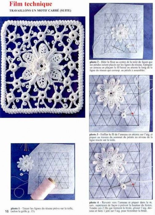 Irish crochet flower with diagram Crocheted Irsh Lace ...