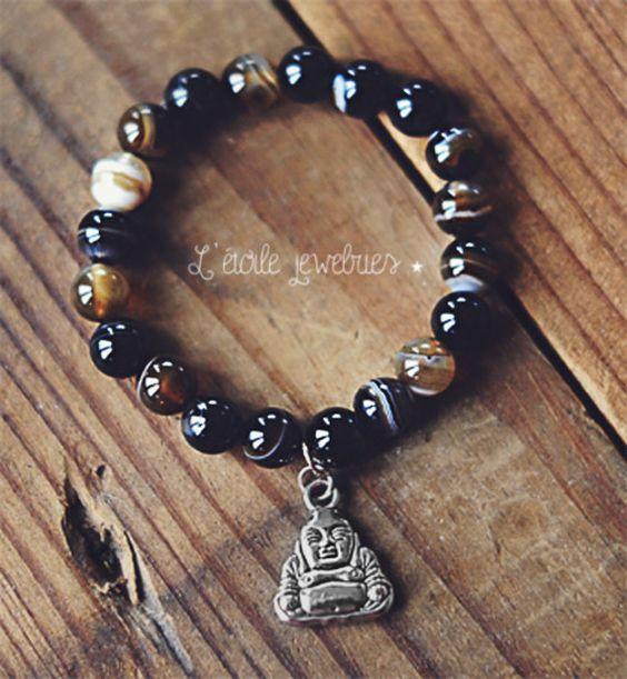 Bracelet en perles d'agate avec charm bouddha, style boho, bohême, zen