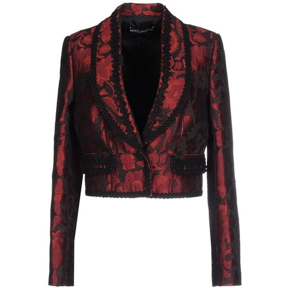 Dolce & Gabbana Blazer ($1,265) ❤ liked on Polyvore featuring outerwear, jackets, blazers, maroon, long sleeve blazer, maroon jacket, jacquard blazer, maroon blazer and jacquard jacket