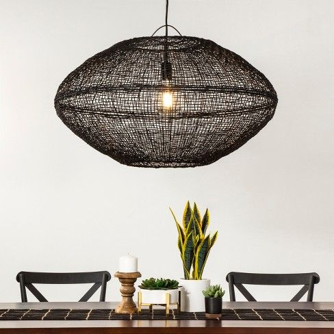 Natural Woven Oblong Extra Large Pendant Lamp Black Includes