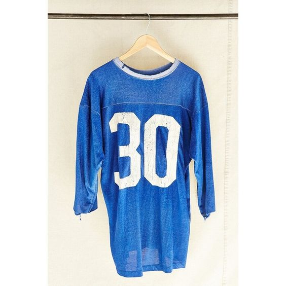 Urban Renewal Vintage Vintage No. 30 Jersey ($129) ❤ liked on Polyvore featuring tops, assorted, jersey tops, jersey knit tops, vintage tops and blue top