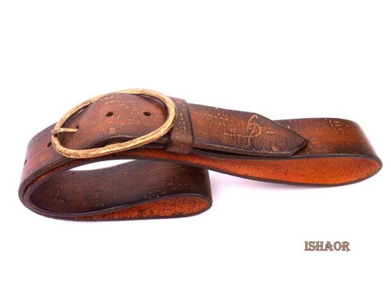 Gold Brown Leather Belt - Handmade Embossed Belt By Ishaor