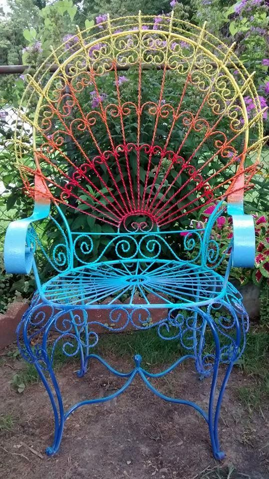 Colorful Hand Painted Metal Patio Chairs Patio Furniture Makeover Wrought Iron Patio Furniture
