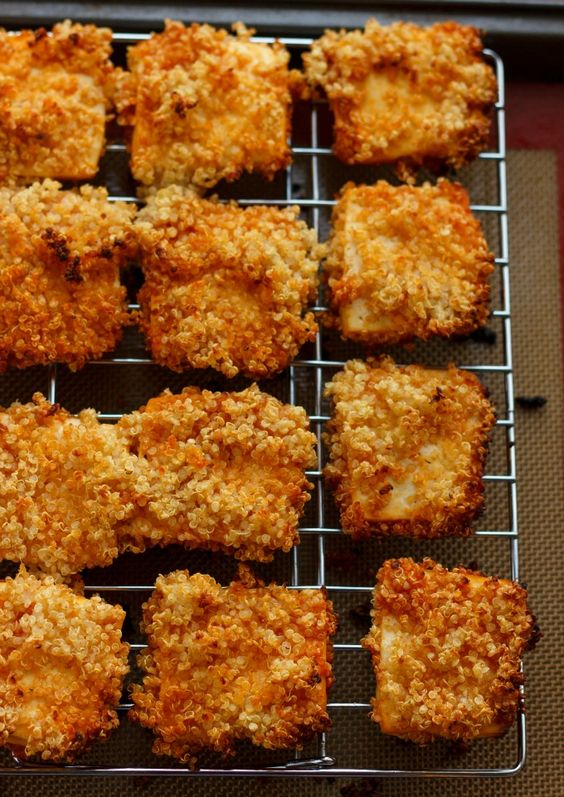 Turn down that breading and standard chicken nuggets and try these quinoa crusted tofu nuggets instead! #healthy #glutenfree #vegan
