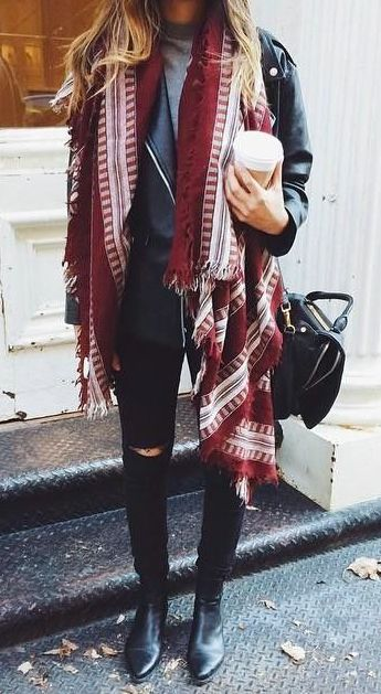 Love this Burgundy patterned scarf, Leather moto and black skinnies